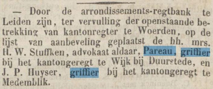 AM Pareau solliciteert naar een betrekking als commies-griffier bij de Tweede Kamer op 28 februari 1865