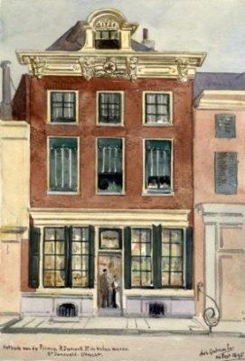 Jansveld 11, Utrecht. Winkel in koloniale waren van de familie Dumont. Getekend door E.A. Grolman in 1895, collectie het Utrechts Archief