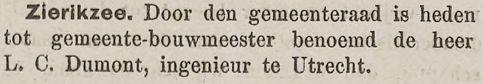 Benoeming tot gemeente-bouwmeester in Zierikzee, krant 18 januari 1898