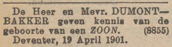 Henri Willem Dumont geboren op 19 april 1901 in Deventer
