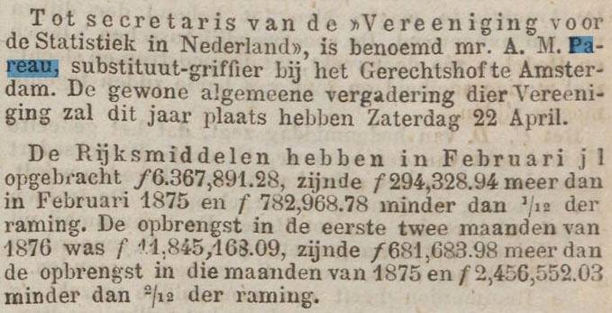 """Alexander Martinus Pareau benoemd tot secretaris van de """"Vereniging voor de Statistiek in Nederland"""", de voorloper van het huidige Bureau voor de Statistiek. Krantenbericht dd 14 maart 1876"""