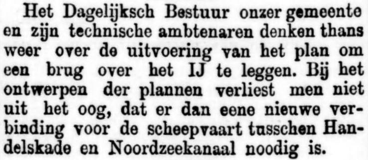 Brug over het IJ, nieuw initiatief. De Standaard, 2 augustus 1883