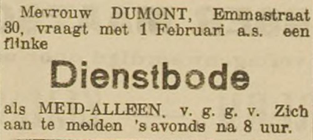 Sies Dumont-Bakker zoekt een dienstbode, advertentie 24 november 1905. Eén dag voor de geboorte van Sophia.