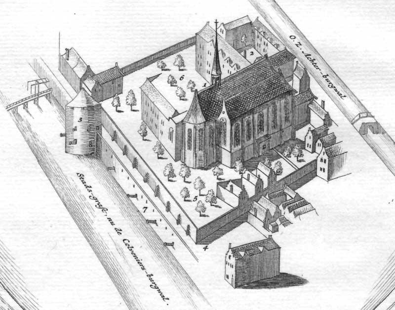 Waalse Kerk op het Walenpleintje aan de Nieuwezijds Achterburgwal in Amsterdam, oude gravure vogelperspectief. Destijds liep het terrein door tot aan de huidige Kloveniersburgwal.
