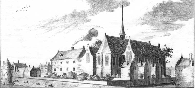 Oude gravure van de Waalse Kerk nu aan het Walenpleintje bij de Oudezijds Achterburgwal in Amsterdam. Destijds liep het terrein door tot aan de huidige Kloveniersburgwal.