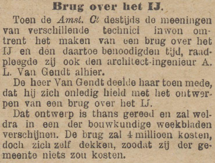 Brug over het IJ: weer een nieuw plan. De Tijd, 30 november 1895
