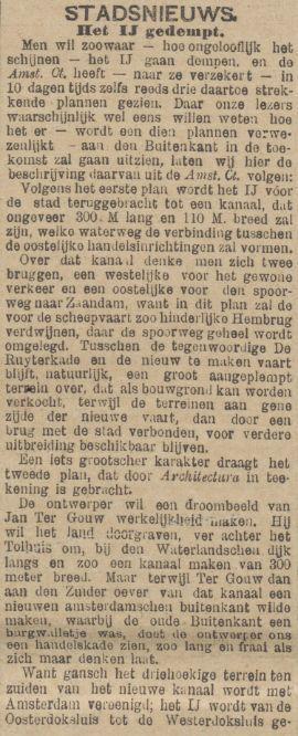 Demping van het IJ overwogen. De Tijd, 30 november 1895