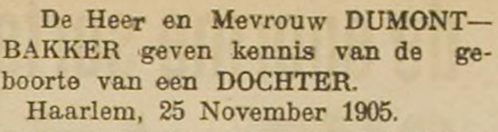 Sophia Geertruida Elisabeth Dumont geboren op 25 nov. 1905 in Haarlem
