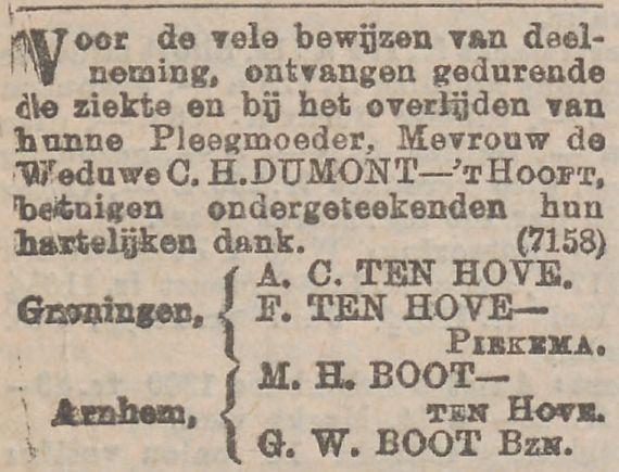 Dank voor medeleven na de dood van Goswina Magdalena Dumont - 't Hooft, advertentie dd 23 januari 1902