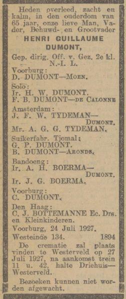 Henri Guillaume (Han) Dumont sterft op vrijdag 24 juli 1927 in Leidsendam, rouwadvertentie