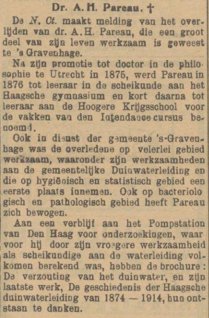 In Memoriam in de Preanger Bode, Nederlands Indië, 7 augustus 1918