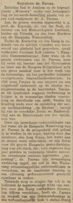 Verslag begrafenis AH Pareau, krant 30 april 1918