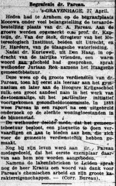 2e artikel over de begrafenis van AH Pareau, 30 april 1918