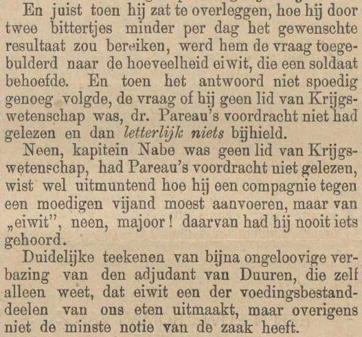 aanhalen lezing van dr AH Pareau over eiwit, krant 30 maart 1888