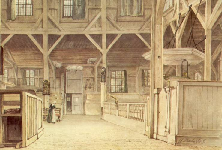 Amstelkerk met het oorspronkelijke interieur 1776-1850. Tekening door G. Lamberts