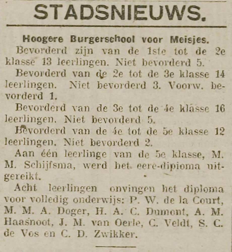 Hermina Anna Catharina Dumont slaagt voor haar eindexamen HBS, krant 10 juli 1919