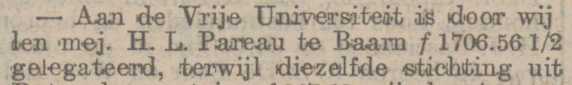 De Vrije Universiteit ontvangt een groot legaat van Helena Louise Pareau, krant 22 maart 1904