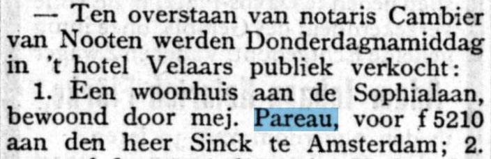 Verkocht: huis Helena Louise Pareau, bericht 26 september 1903