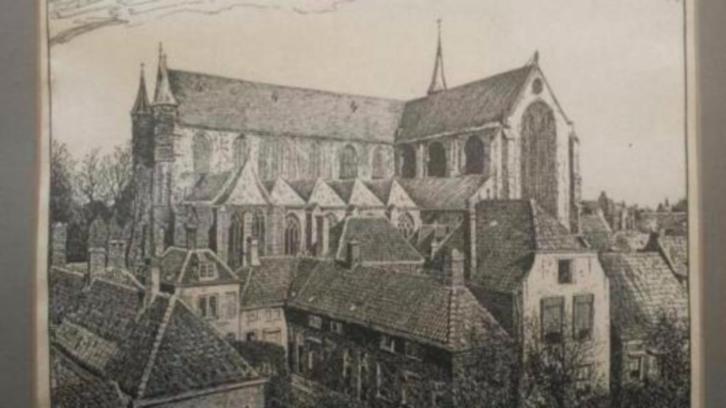 De Pieterskerk in Leiden, tekening van Charles Francois Henri Dumont