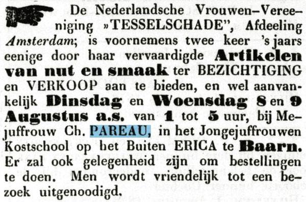 Theodora actief betrokken bij Tesselschade: verkoping op Erica, bericht dd 5 augustus 1876