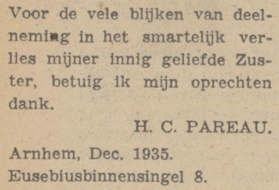 Zus Helena Cornelia (Corretje?) dankt voor het medeleven bij het sterven van Theodora Aleida (Theo) Pareau, advertentie 13 december 1935