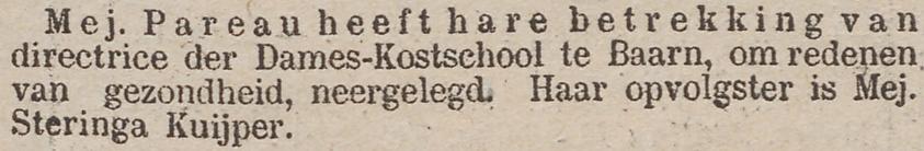 Theodora Aleida Pareau stopt als directrice van kostschool Erica in Baarn, krant 21 maart 1882
