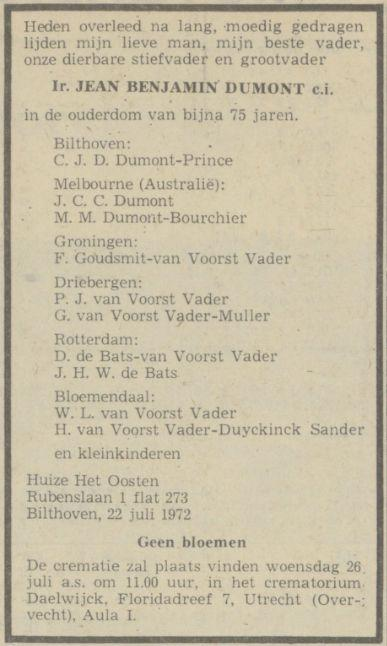 Jean Benjamin Dumont (1897) sterft op 22 juli 1972 in Huize het Oosten in Bilthoven