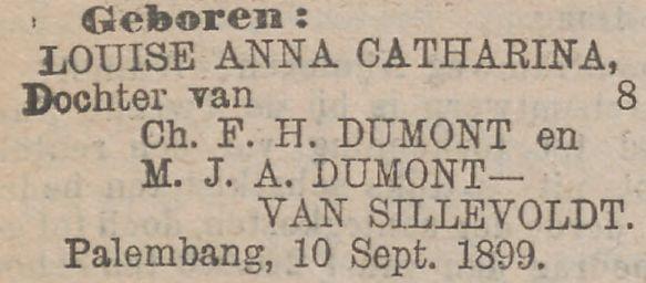 Louise Anna Catharina Dumont geboren op 10 september 1899 in Palembang, Nederlands Indië