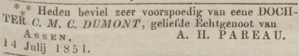 Geboorte Catharina Ursula Pareau in Assen op 14 juli 1851