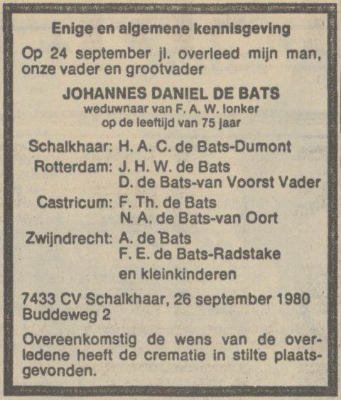 Johannes Daniel de Bats, echtgenoot van Hermien Dumont, sterft op 24 november 1980 in Schalkhaar