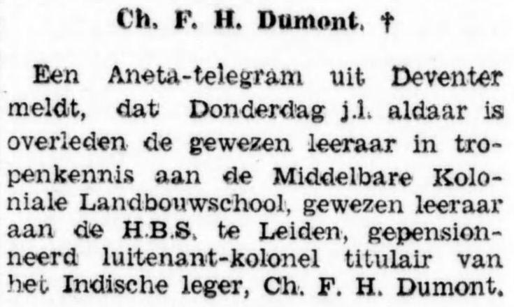 kort bericht over de dood van Charles Francois Henri Dumont, krant 30 januari 1933