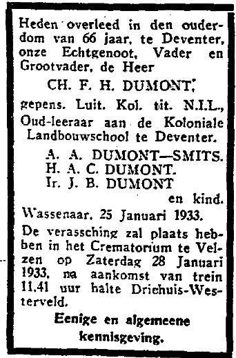 Charles Francois Henri Dumont sterft op 25 januari 1933, enkele maanden na de scheiding van zijn 2e vrouw