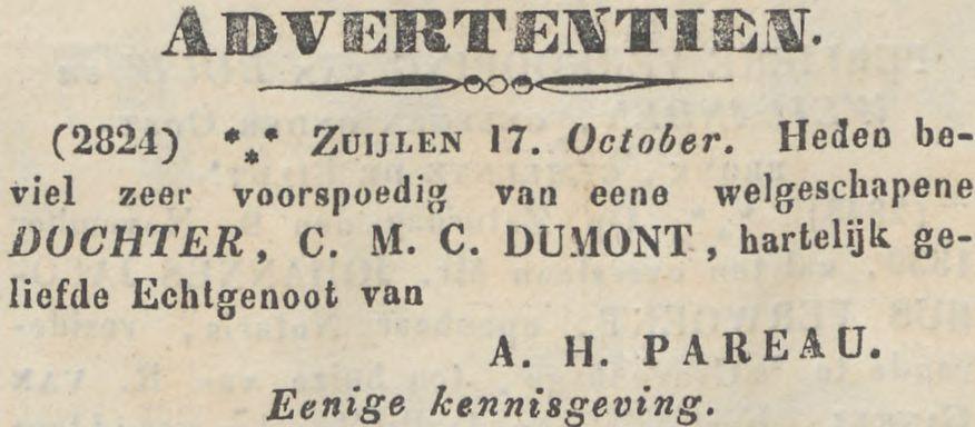 Geboorte van Theodora Aleida (Theo) Pareau, dochter van dominee AH Pareau en CMC (Lotje) Dumont op 17 oktober 1839