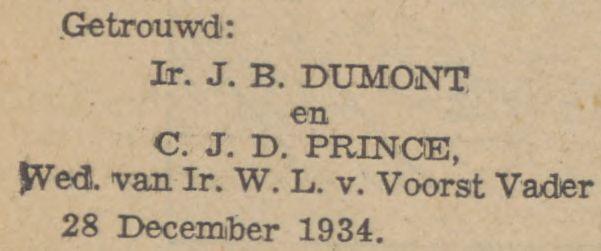 Jean Benjamin Dumont (1879) trouwt voor de 2e keer, nu metCornelia Jacoba Diderica Prince op 28 december 1934 in Den Haag