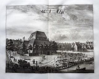 Exterieur Amstelkerk door C. Commelin 1726. 'Dat Narrenschip'