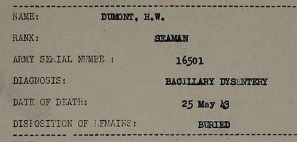 Henri Willem Dumont van 1901 sterft op 25 mei 1943 in Japanse gevangenschap, registratie
