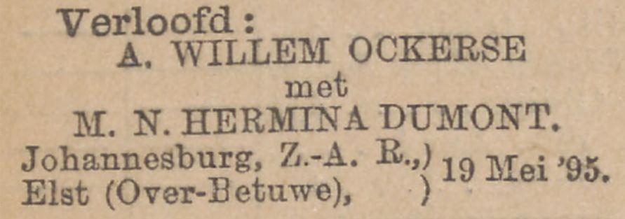 Margaretha Nicolasina Harmina Dumont verlooft zich met Albert Willem Ockerse op 25 mei 1895
