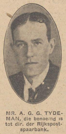 Krantenfoto van Bert (AGG) Tydeman bij een bericht over zijn benoeming tot directeur van de Rijkspostspaarbank per 1 april 1933, krant 8 december 1932