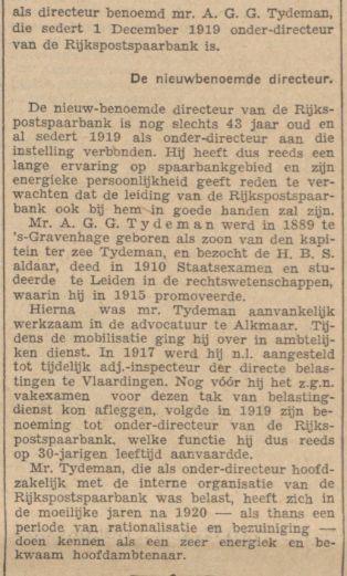 langer artikel over Bert (AGG) Tydeman vanwege zijn benoeming tot directeur van de Rijkspostspaarbank per 1 april 1933, krant 8 december 1932