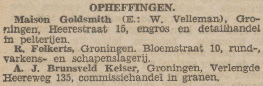 Opheffing (wegens faillissement), krant 20 juni 1931