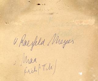 Tekst op achterkant foto gezin von Raesveld Meyer - de Calonne. uUit fotoalbum Puck Drognat Doeve