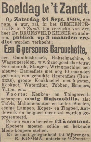 Theodorus Brunsveld Keiser verkoopt een deel van zijn inboedel. Daaronder een paardenrijtuig, een speciale streekgebonden koets. Mogelijk vanwege zijn verhuizing van 't Zandt naar de stad Groningen. Krantenadvertentie dd 21 september 1898