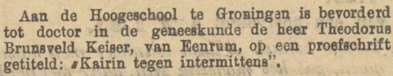 Theodorus Brunsveld Keiser promoveert op 11 maart 1885