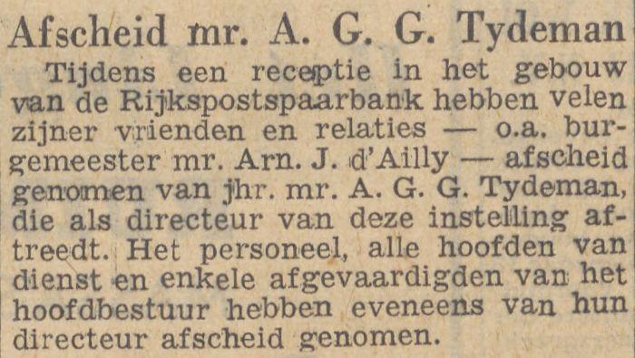 Afscheidsreceptie Bert (AGG) Tydeman bij zijn afscheid als Directeur van de Rijkspostspaarbank, Parool 31 juli 1948