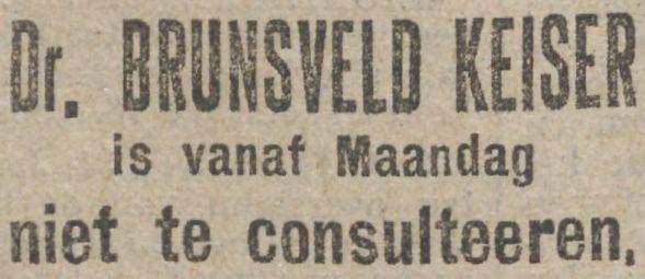 De arts Theodorus Brunsveld Keiser gaat met pensioen, krant 31 januari 1919