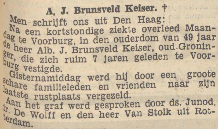 Kort krantenbericht over de dood van Albertus Jacobus Brunsveld Keiser op 20 februari 1939