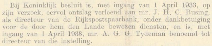 Benoeming Bert (AGG) Tydeman tot directeur van de Rijkspostspaarbank, Staatscourant 7 december 1932