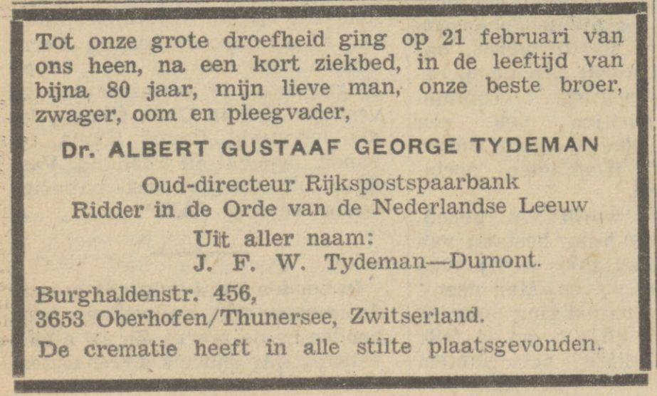 Bert (AGG) Tydeman sterft op 21 februari 1969 in Zwitserland