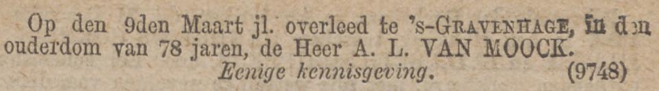 Arnold van Moock, weduwnaar van Catharine Elisabeth Pareau, sterft op 9 maart 1881 in Den Haag, rouwadvertentie 1