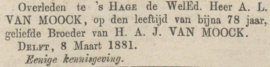 Arnold van Moock, weduwnaar van Catharine Elisabeth Pareau, sterft op 9 maart 1881 in Den Haag, rouwadvertentie 2
